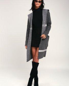 Simi Charcoal Grey Print Hooded Long Cardigan Sweater