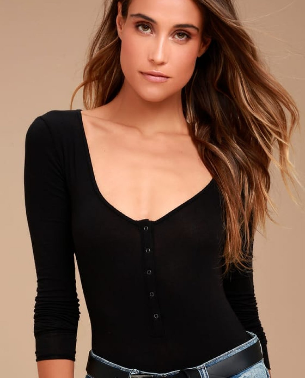 Simply Henley Washed Black Long Sleeve Bodysuit