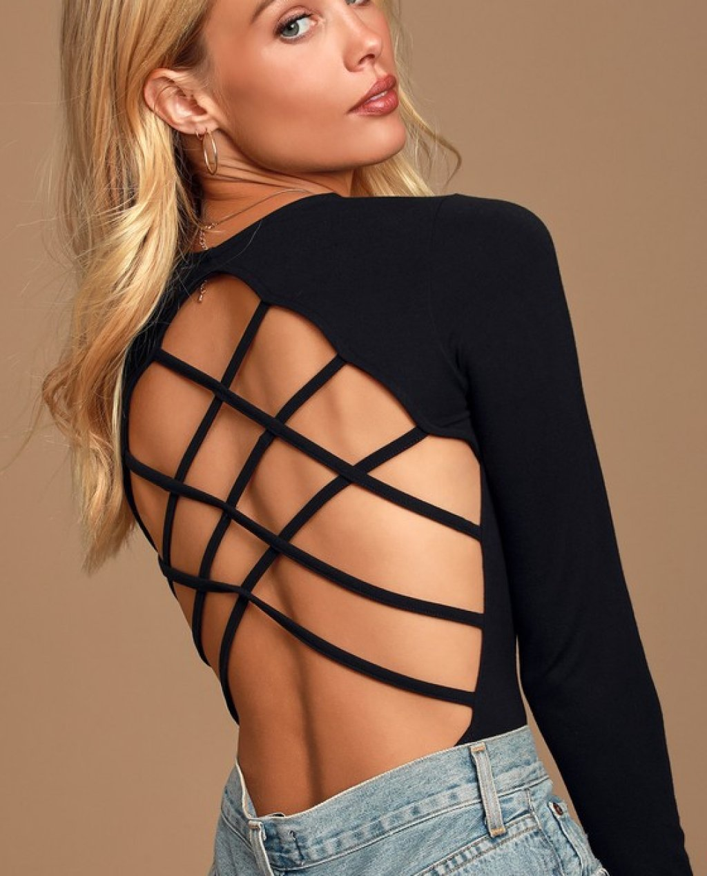 Simply Irresistible Black Strappy Backless Bodysuit