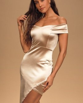 Simply Me Champagne Satin Off-the-Shoulder Bodycon Mini Dress
