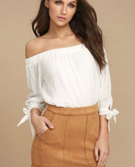 Simply Perf Tan Suede Mini Skirt