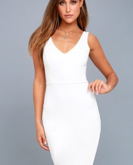 Skyline White Sleeveless Bodycon Dress