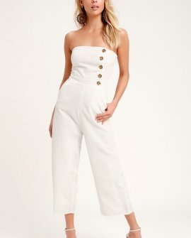 Skyline White Strapless Culotte Jumpsuit