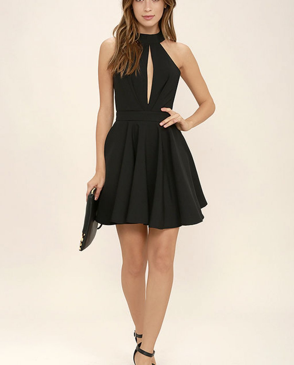 Smile Sweetly Black Skater Dress