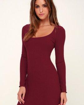 Smile at Me Burgundy Ribbed Scoop Neck Long Sleeve Dress