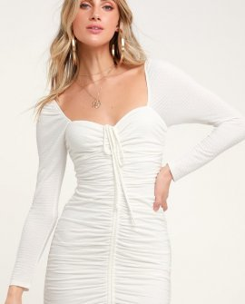 Snapdragon White Ruched Long Sleeve Bodycon Dress
