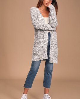 Snow Day Grey Multi Eyelash Knit Cardigan Sweater