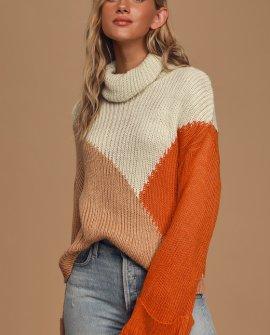 Snow Doubt About It Cream Multi Colorblock Turtleneck Sweater