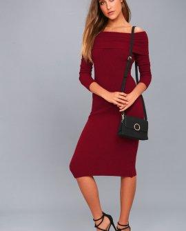 Snowfall Burgundy Long Sleeve Midi Sweater Dress