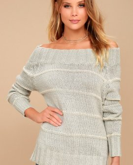 Snuggle Down Grey Striped Off-the-Shoulder Sweater