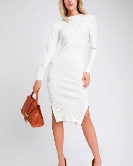 Snuggle Party Ivory Mock Neck Midi Sweater Dress