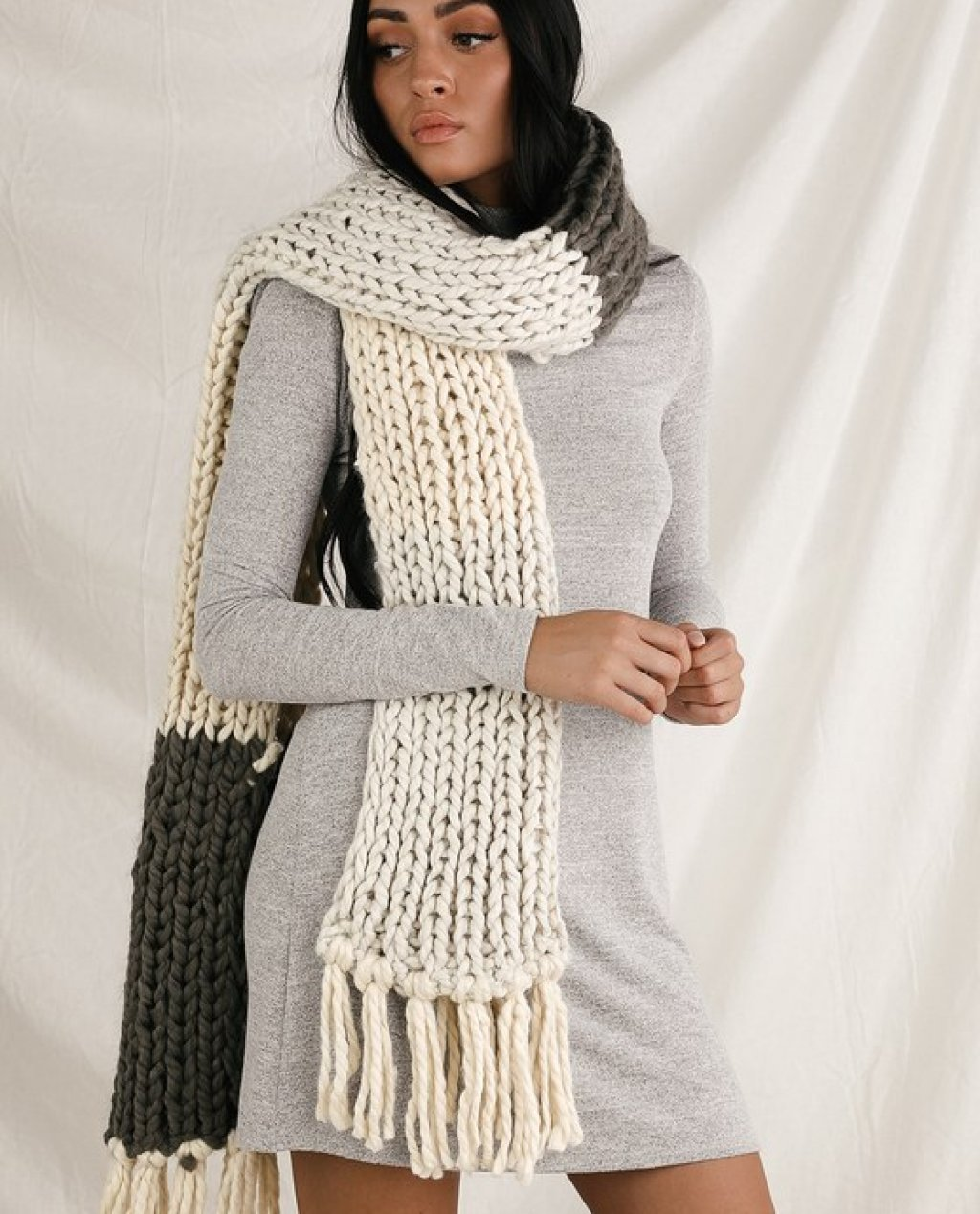 Snuggle Up Olive Green Multi Colorblock Scarf