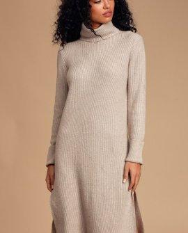 Snuggled Up Beige Knit Turtleneck Midi Sweater Dress