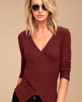 So Delightful Burgundy Long Sleeve Wrap Top