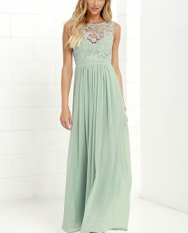 So Far Gown Sage Green Lace Maxi Dress