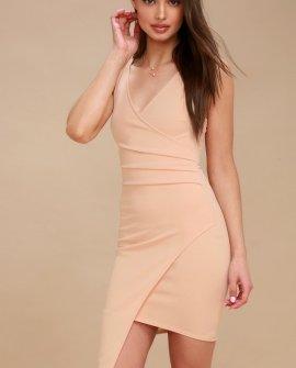 So Seductive Nude Sleeveless Bodycon Wrap Dress