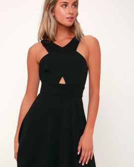 So Sophisticated Black Cutout Skater Dress