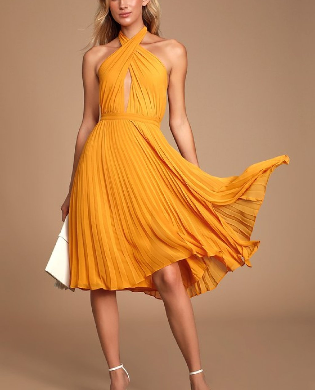 Soho House Marigold Pleated Halter Midi Dress