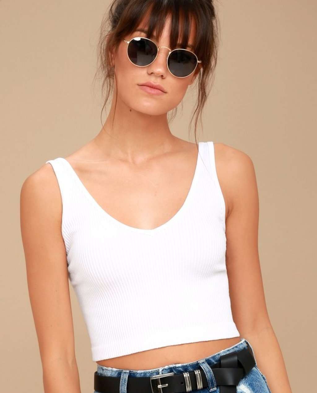 Solid Rib White Cropped Tank Top