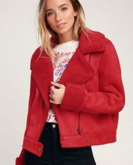 Sometimes Red Vegan Suede Sherpa Jacket