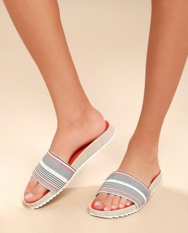 Sonia Coral Stripe Slide Sandals