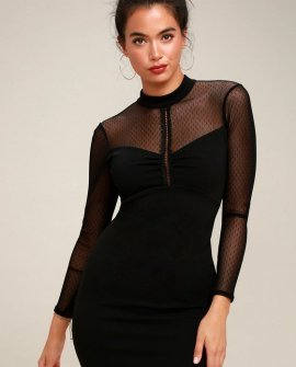Sorry Not Soiree Black Mesh Long Sleeve Bodycon Dress