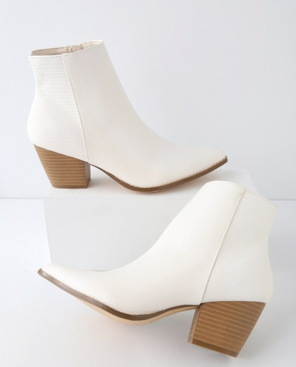 Spirit Ivory Snake Pointed Toe Ankle Booties