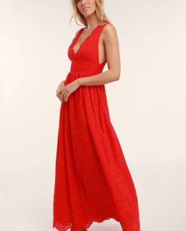 Splendid Red Eyelet Lace Maxi Dress