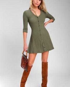 Splendid Style Olive Green Button-Front Knit Swing Dress