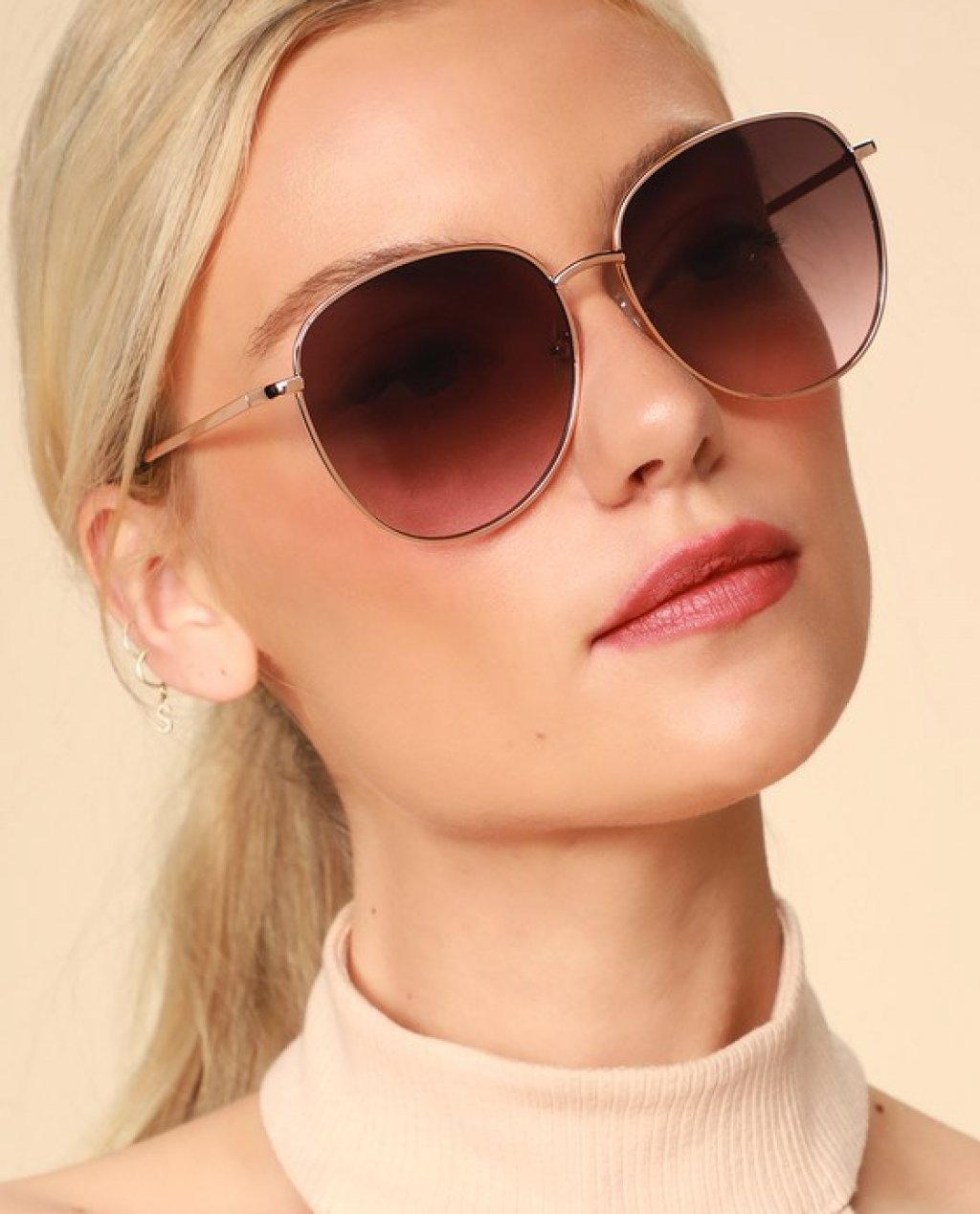 Stacy Pink and Rose Gold Oversized Sunglasses