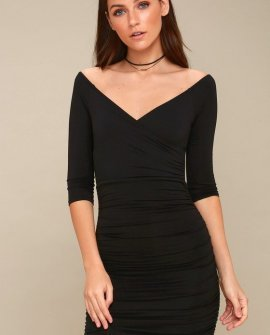 Star of the Show Black Off-the-Shoulder Bodycon Dress