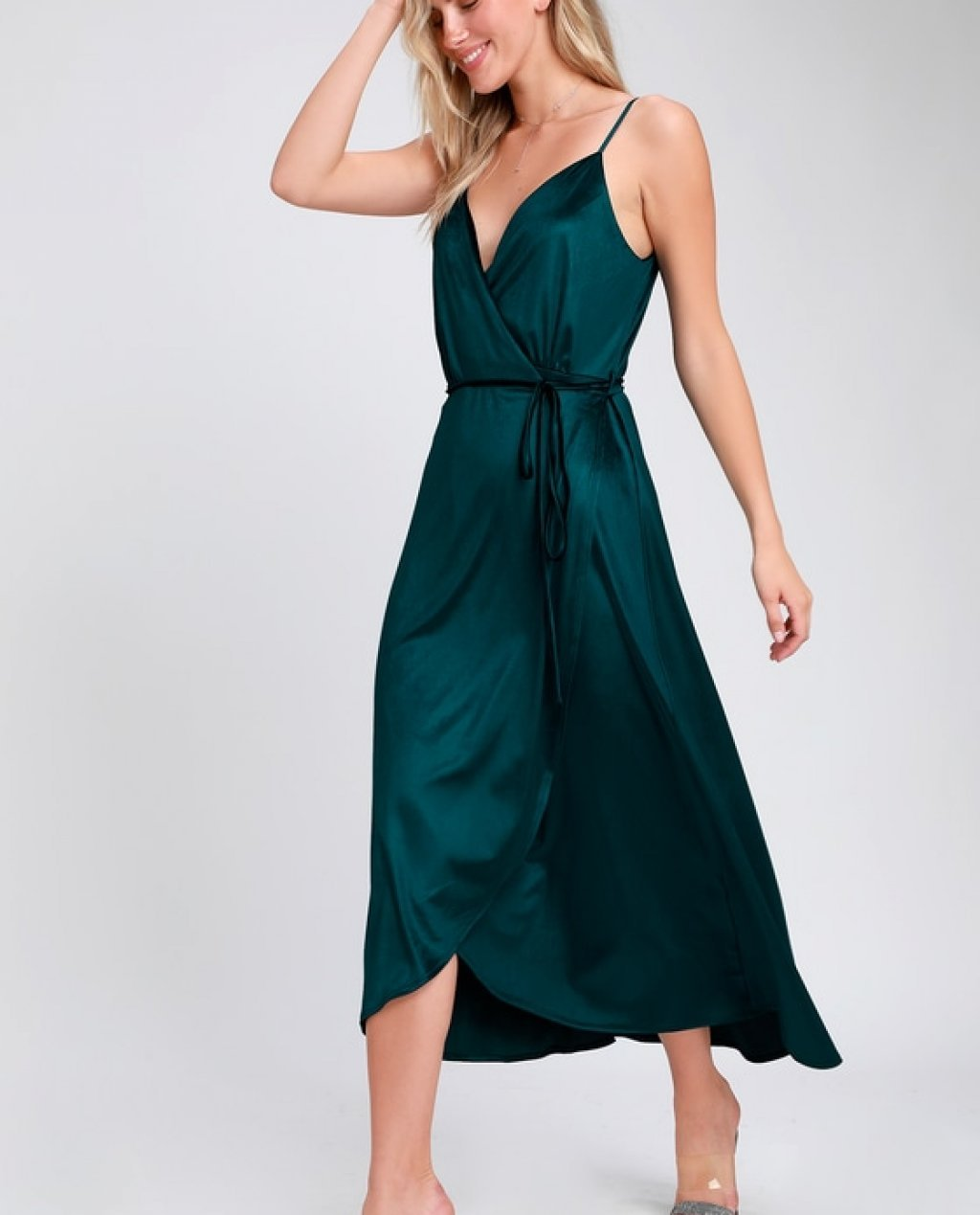 Starlight Starbright Teal Blue Velvet High-Low Wrap Dress