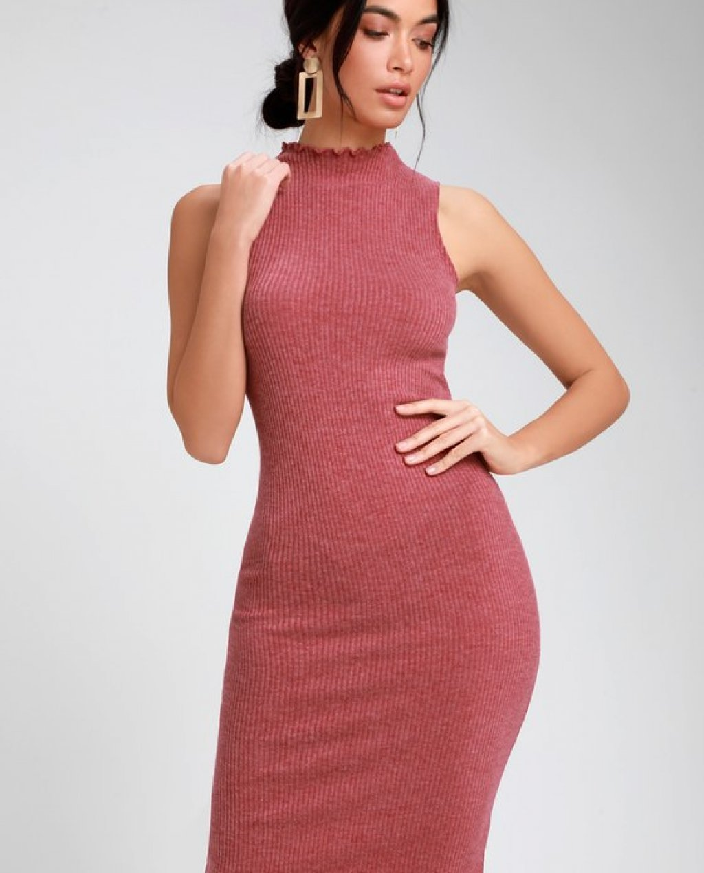 Stay in Style Rusty Rose Ribbed Knit Mock Neck Midi Dress