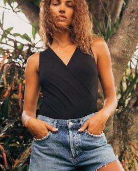 Staying Basic Black Faux-Wrap Sleeveless Bodysuit