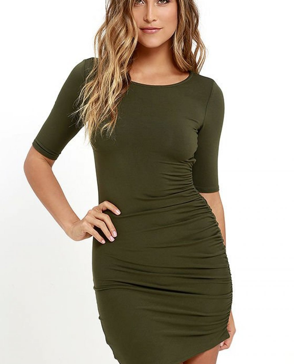 Steal Your Attention Olive Green Bodycon Dress