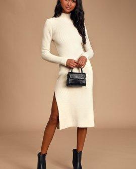 Stevie Beige Mock Neck Long Sleeve Midi Sweater Dress