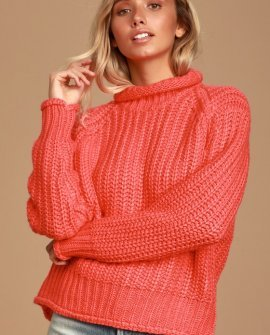 Stevie Coral Red Knit Turtleneck Sweater