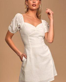 Still My Sunshine White Puff Sleeve Mini Dress