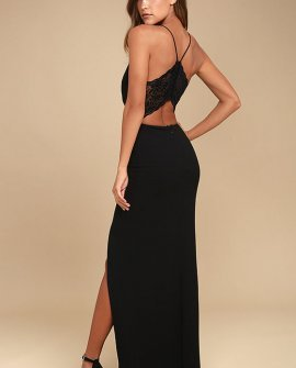 Story of a Starry Night Black Backless Lace Maxi Dress