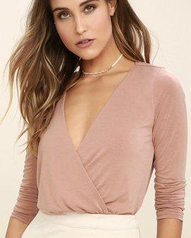 Striking Looks Blush Pink Long Sleeve Bodysuit