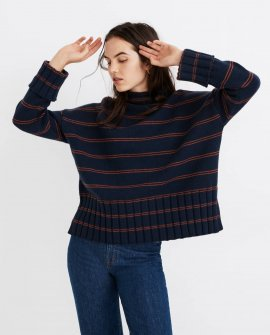 Striped Glenmoor Mockneck Sweater in Cotton-Merino Yarn