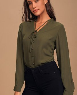 Style Education Olive Green Blouse