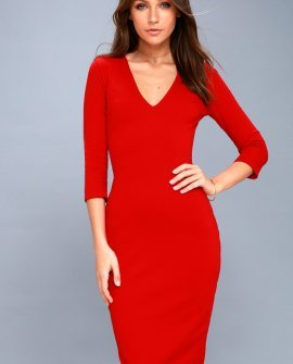 Style and Slay Red Bodycon Midi Dress