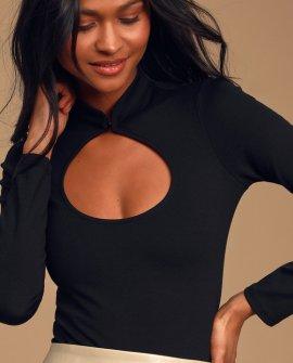 Subtle Perfection Black Long Sleeve Cutout Bodysuit