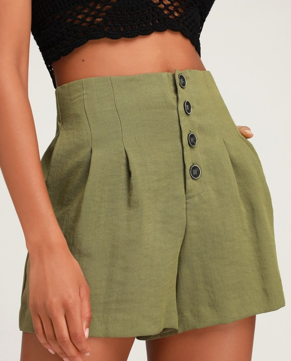 Successful Stella Olive Green Button-Up Shorts