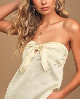 Such a Stunner Ivory Satin Strapless Tie-Front Top