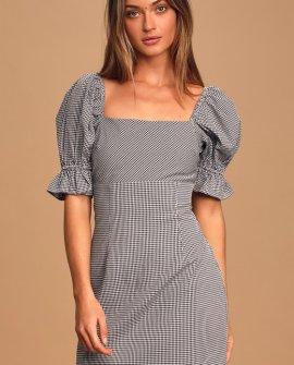 Such a Sweetie Black Gingham Seersucker Puff Sleeve Mini Dress
