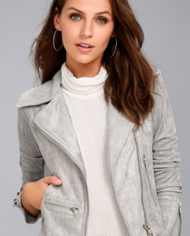 Suede with Love Light Grey Suede Moto Jacket