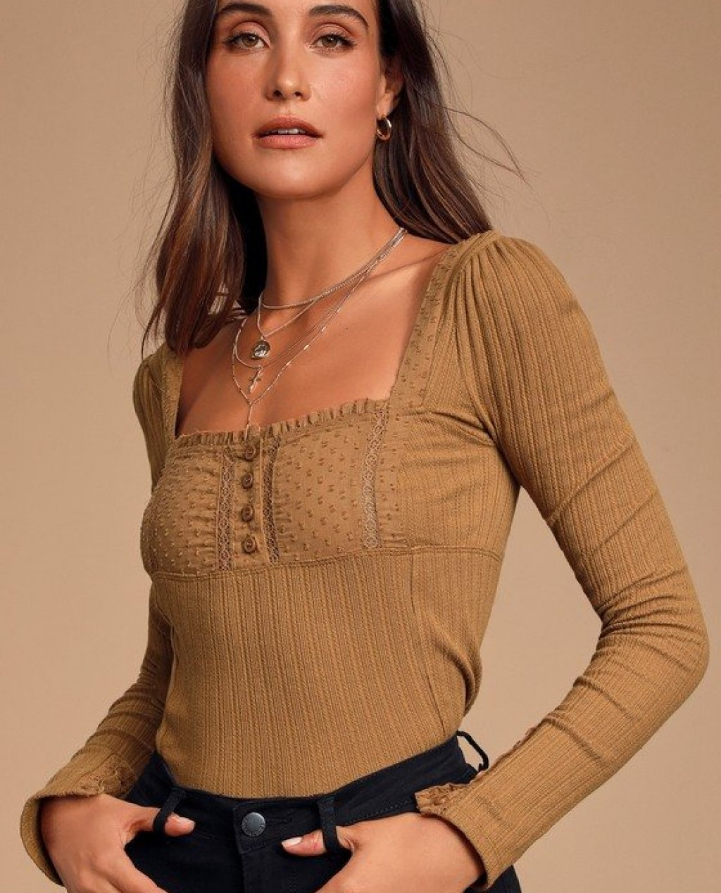 Sugar Sugar Brown Ribbed Long Sleeve Top
