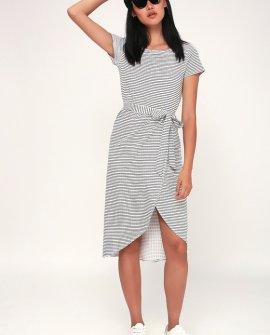 Sun Swept Black and White Striped Belted Midi Dress